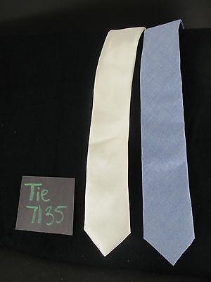NORDSTROM 2 Boys Solid White Silk, Chambray Blue Cotton Tie Set NWOT