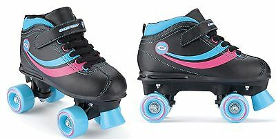 Osprey Childrens Retro Quad Roller Skates With Fastening Straps - Black Size 5