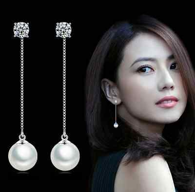 Romantic Fashion 925 Sterling Silver Natural Zircon Pearl Stud Dangle Earrings