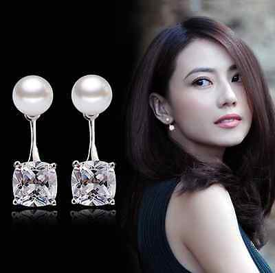 Solid 925 Sterling Silver Zircon Pearl Stud Drop Earrings Valentine's Day Gifts