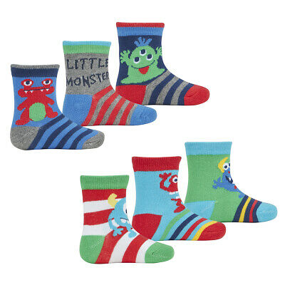 6 Pairs Baby Babies Boys Socks Booties Cotton Rich Cute Monster By TICK TOCK