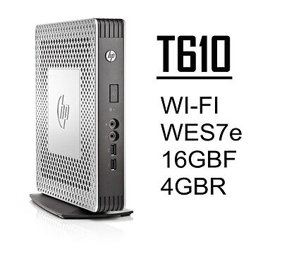 HP t610 Thin Client WI-FI 16GB-F 4GB-R WES7e C1C06UA#ABA w/PS+Stand - Lot Avail