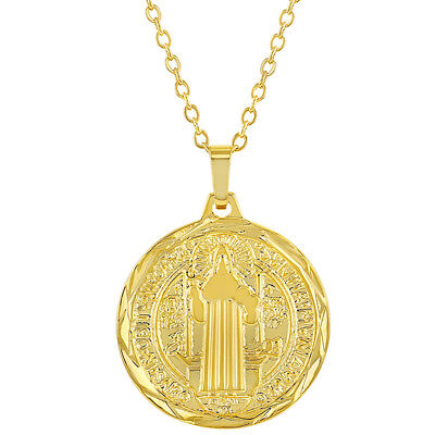 """18k Gold Plated Reversible St Benedict Medal Religious Pendant 19"""""""