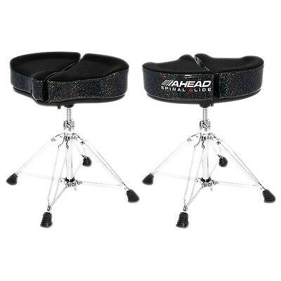 Ahead Spinal G Drum Throne Black Cloth Top/Black Sparkle Sides 18 Inch