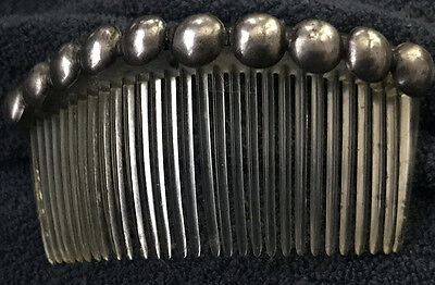 Stunning Navajo Hair Ornament Comb Hand Wrought Silver Button Style Mid-Century