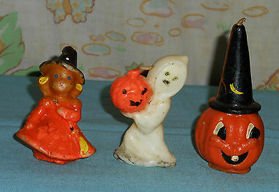 vintage Halloween GURLEY CANDLE LOT OF 3 ghost, witch, wizard jack-o-lantern