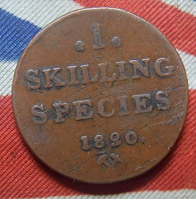1820  Norway Skilling Carl XIV copper coin KM# 286