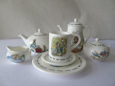 Wedgwood Beatrix Potter Peter Rabbit Miniature Child Doll House Tea & Coffee Set