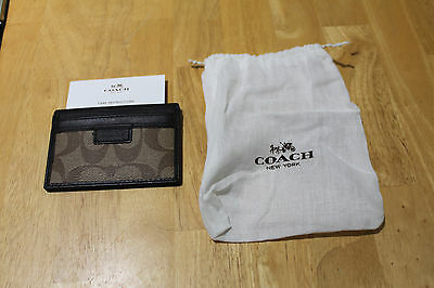 Authentic Coach F74759 Khaki/Brown Slim Card Case new