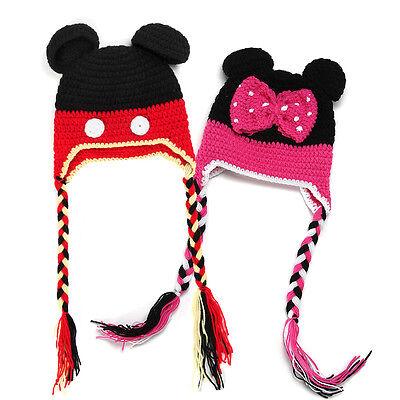 Baby Boy Girl Crochet Knit Beanie Mickey Minnie Mouse Photo Costume Hat Cap Prop