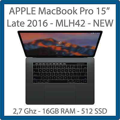 """NEW Apple Macbook Pro MLH42 Space Gray i7 2.7GHz 2.7 GHz 15.4"""" 16GB 512GB - 2016"""