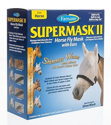 SuperMask II Horse Fly Mask With Ears, Silver/Black