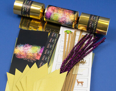 8 Gold Foil New Year Fireworks Make & Fill Your Own Party Crackers - Craft Kit