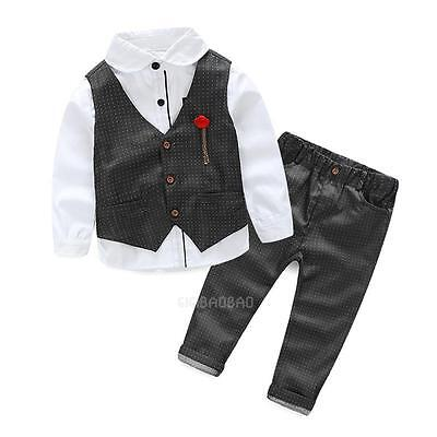 Baby Boy Wedding Formal Tuxedo Suit Shirt Vest Clothes Outfit+Pants Set 2-7Years