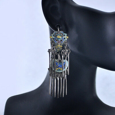 "Antique Chinese Art Nouveau Vermeil Enamel Silver Dangle Earrings 2 1/4 "" Long"