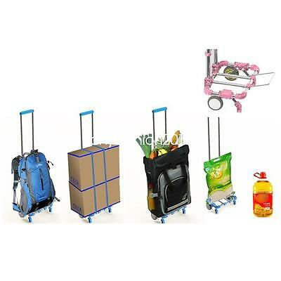 1x Portable Shopping Hand Cart Foldable Travel Luggage Transport Trolley Durable