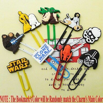 9pcs/set Star Wars Cartoon Bookmarks PVC Paper Marks/Clips Children Boys Gifts