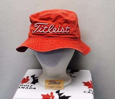 New Mens Titleist Pigment dyed Red golf bucket cap hat Small