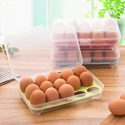 New 15 Eggs Refrigerator Eggs Storage Box  Food Storage Container Case
