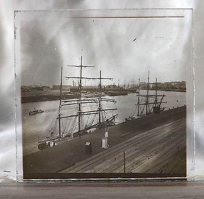 Ambrotype GLASS PHOTOGRAPH of EUROPEAN TALL SHIPS at RIVER DOCK, ca.late 1800's