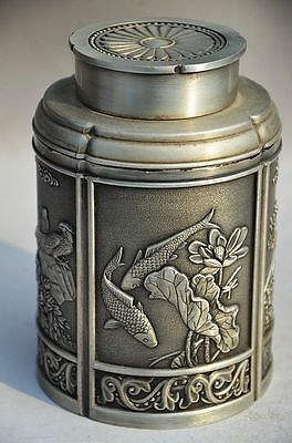 China Vintage Oriental Old Tibet Silver Handwork Birds & Fishes Tea Caddy As470