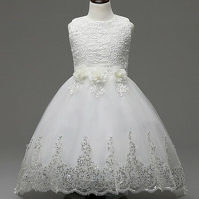 Flower Girls Lace Dress Kids Girl Princess Wedding Pageant Sequins Trailing Gown