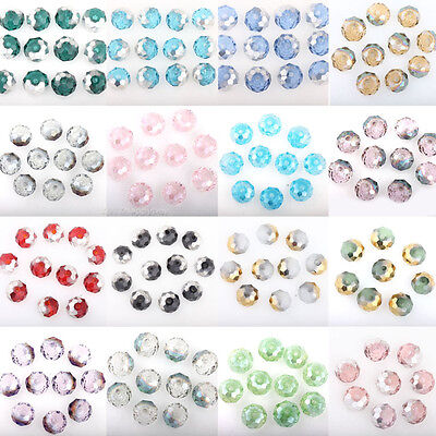 50X Popular Half Silver Plated Round Loose Spacer Crystal Beads Jewelry DIY 8mm