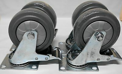 "4"" Castor (SET OF 4) 100mm SWIVEL / BRAKE Caster Wheel Heavy Duty"