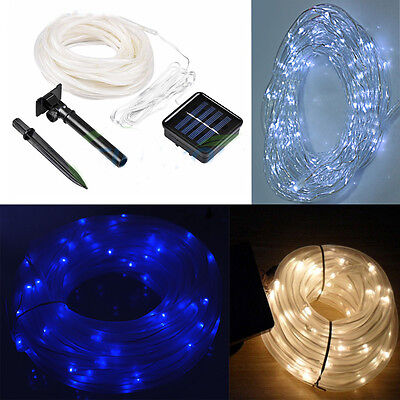 39.4FT 100leds Tube Waterproof Solar Led Rope light Fairy String Garden Party US