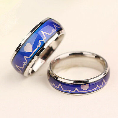 Men Women Hearts Mood Ring Temperature Feeling Changing Color Rings Jewelry Chic