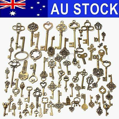 AU Stock 70Pcs Bronze Keys Vintage Antique Old Look Skeleton Heart Bow Pendant
