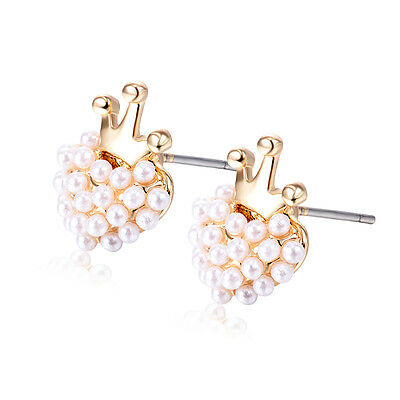 Baby girls Baby Safety Heart Pearl beads Crown Hoop Earrings Yellow Gold Filled