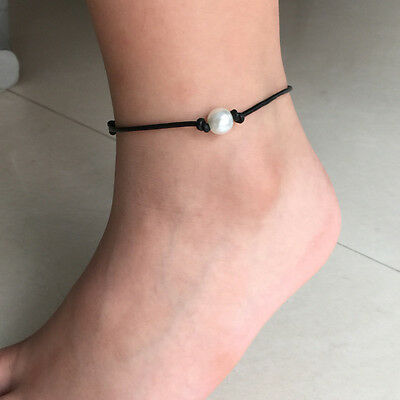 Ladies Girls Anklet Chic Leather Bracelets & Bangles Pearl Charm Ankle Foot
