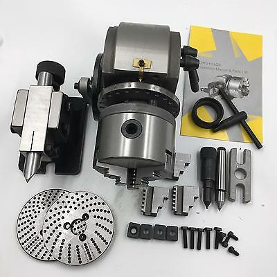 "BS-0 Precision Dividing Head 3Jaw 5"" Chuck + Tailstock + Dividing Plate CNC Mill"