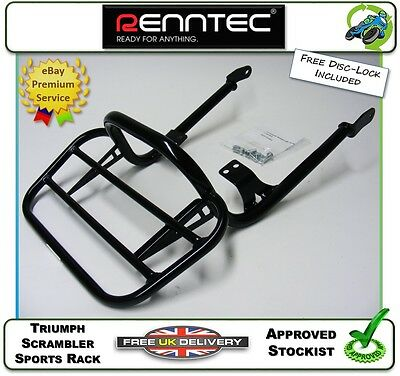 New Genuine Renntec Sports Rack Rear Carrier In Black Fits A Triumph Scrambler