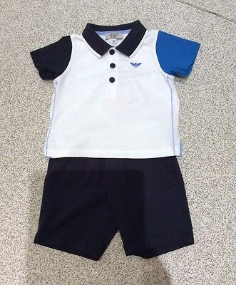 ARMANI Baby Boys Top And Marching  Shorts,  12 months, Brand new with tag.