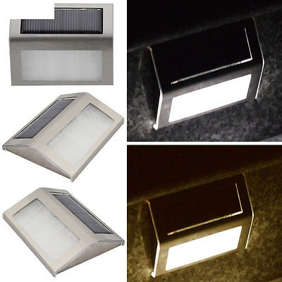Garden Yard Led Light Solar Power Staircase Pop Lamp Pathway Wall Outdoor Home