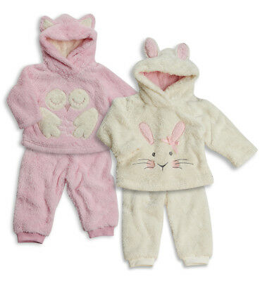 Infant Toddler Baby Girls Hooded Snuggle Fleece 2 Piece Pyjama Set Sizes 6-24m