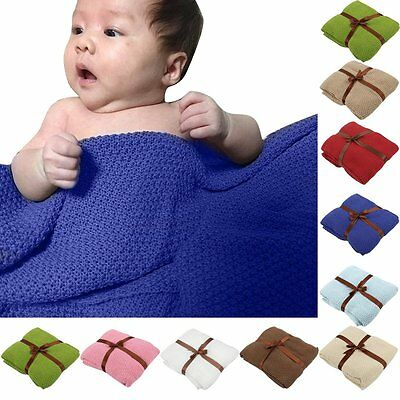 Soft Knit Cotton Blanket Newborn Baby Receiving Blankets Swaddling Swaddle Wrap