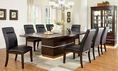 Leatherette Furniture Led Light Dining Table & Chairs 9pc Set Rectangular Design