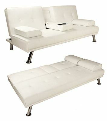 White Modern Faux Leather Sofa Bed Double Click Clack Settee 2-3 Seater Couch