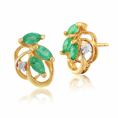 9ct Yellow Gold 0.32ct Natural Emerald & Diamond Floral Stud Earrings