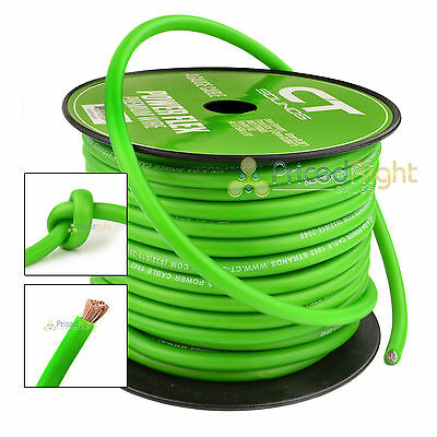 25FT Green 4 Gauge Amp Power Ground or Speaker Cable Wire Car Flexible CT Sounds