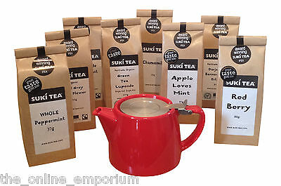 RED 18oz (2 CUP) FORLIFE LOOSE LEAF TEAPOT & PACK OF SUKI TEA -CHOICE OF 17 TEAS