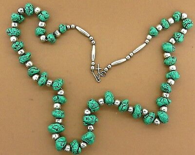 Vintage silver NAVAJO NATIVE AMERICAN INDIAN TURQUOISE SQUASH CHARM necklace