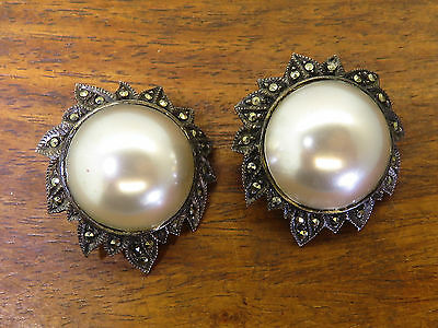 Vintage silver JUDITH JACK ANTIQUE LARGE MABE PEARL MARCASITE CLIP earrings