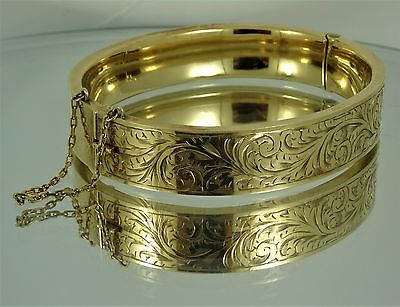 Ladies Solid Vintage 9ct Yellow Gold BANGLE Patterned 19gr Hm 1959 RRP £1000