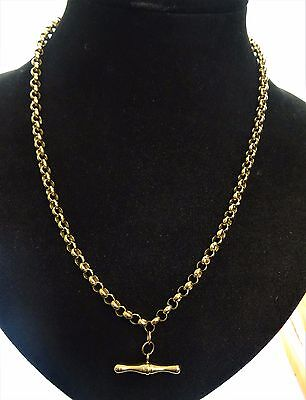 """18"""" 9ct Yellow Gold BELCHER Chain Necklace T BAR 8.3gr Hm"""