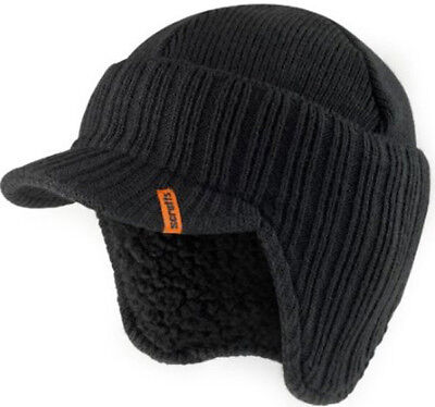 Scruffs Peaked Beanie Hat Black Insulated Warm Knitted Thermal Winter Stylish