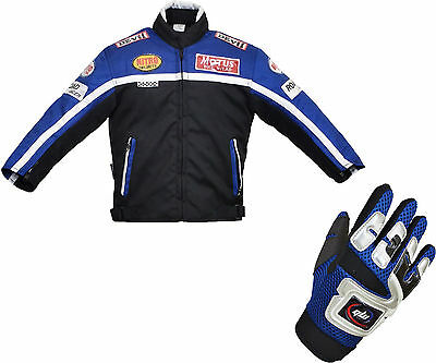 Kids Children's Textile Motorbike Motorcycle Motocross Jacket Gloves Blue